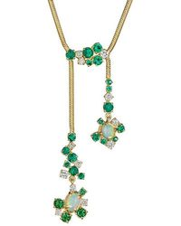 Madstone Design - Melting Ice Emerald, Opal And Diamond Drop Necklace - Lyst