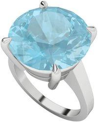 StyleRocks - Round Brilliant Cut Blue Topaz Silver Ring - Lyst
