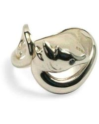 Serena Fox - Seahorse Ring In Silver With Aquamarine Eyes - Lyst