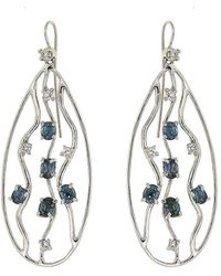 Botta Gioielli - Blue Sapphire And Diamonds Drops Waves Earrings - Lyst
