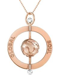 GlobalSoul Jewellery - Rose Gold Vermeil Peace Spinning Globe Pendant - 40mm - Lyst