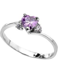 QP Jewellers - Cz Heart Promise Engagement Ring In 9kt White Gold - Lyst