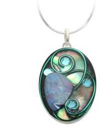 AVA Goldworks - Waterlily Abalone And Opal Pendant - Lyst