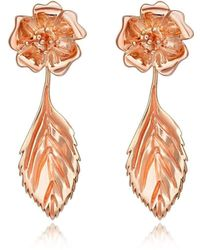 Liz Earle Fair and Fine Wild Rose Stud Earrings With Leaf Drops Rose