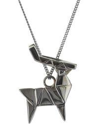 Origami Jewellery - Deer Black Silver Necklace - Lyst