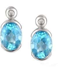 Amore Argento - Rhodium Plated Sterling Silver Spicy Blue Earrings - Lyst