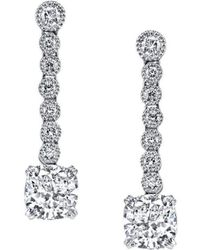 Harry Kotlar - Kotlar Cushion With Round Bezel Drop Earrings - Lyst