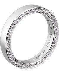Akillis - Wedding Band White Gold And Diamonds For Men - Lyst