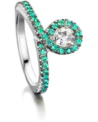 Joke Quick - 18kt White Gold Eyeonyou Ring With Diamond & Emeralds - Lyst