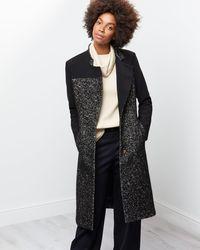 Jigsaw - A - Contrast Tweed Coat - Lyst