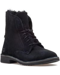 UGG - Quincy Black Suede Lace Up Boot - Lyst