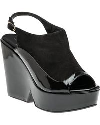 323dc586bc5 Robert Clergerie - Dana Black Suede patent Leather Wedge - Lyst