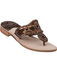 Jack Rogers - Thong Sandal Bronze Leather - Lyst