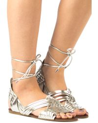 J/Slides - Hipster Silver Leather Lace Up Sandal - Lyst