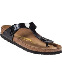 Birkenstock - Gizeh Thong Sandal Black Patent Birko Flor - Lyst