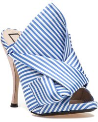 N°21 | 8254 Blue/white Satin Knotted Slide | Lyst