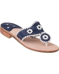 Jack Rogers - Palm Beach Thong Sandal White/navy Leather - Lyst