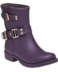 Colors Of California - Biker Zip Low Rain Boot Purple - Lyst