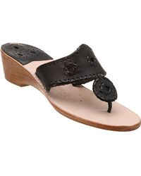 Jack Rogers - Palm Beach Wedge Sandal Black Leather - Lyst