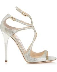 Jimmy Choo - Lance Champagne Glitter Leather Sandals - Lyst
