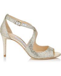 Jimmy Choo - Emily 85 Champagne Glitter Fabric Sandals - Lyst