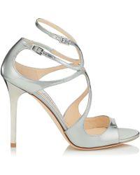 Jimmy Choo - Lang Silver Liquid Mirror Leather Sandals - Lyst