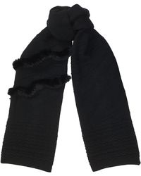 Jimmy Choo - Nora Black Knitted Wool Scarf - Lyst