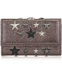 e71ceb9f6c52 Jimmy Choo - Howick Gunmetal Glitter Leather Key Holder With Silver Gunmetal  Metallic Stars - Lyst