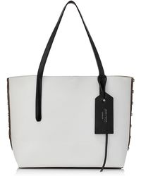 Jimmy Choo - Twist East West Black And Optical White Mix Leather Tote Bag - Lyst