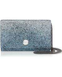 Jimmy Choo - Florence Silver And Dusk Blue Fireball Glitter Dgrad Fabric Clutch Bag - Lyst