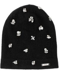 Jimmy Choo - Eva Black Blend Cashmere Knitted Beanie With Crystals - Lyst