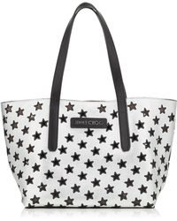 Jimmy Choo - Sofia/m Black And Silver Metallic Nappa Leather Tote Bag With Perforated Stars - Lyst