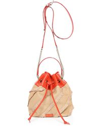 Jimmy Choo - Juno/s Natural And Chilli Fringed Fine Woven Raffia And Printed Ayers Drawstring Bag - Lyst