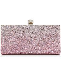 Jimmy Choo - Celeste/s Flamingo And Platinum Ice Glitter Dgrad Fabric Clutch Bag - Lyst