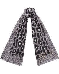 Jimmy Choo - Kristi H68023850 Grey Mix Leopard Print Silk Stole - Lyst