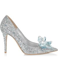 Jimmy Choo Avril Crystal Covered Pointy Toe Pumps Crystal 34.5