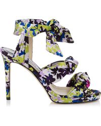 Jimmy Choo - Kris Floral-Print Satin Sandals - Lyst