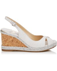 Jimmy Choo - Amely 80 Latte Snake Embossed Leather Wedges With Braid Trim Wedge - Lyst