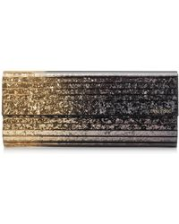 Jimmy Choo - Sweetie Antique Gold And Anthracite Dgrad Glitter Acrylic Clutch Bag With Gold Chain Strap - Lyst