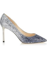 Jimmy Choo - Romy 85 Navy And Silver Coarse Glitter Dgrad Pointy Toe Pumps - Lyst