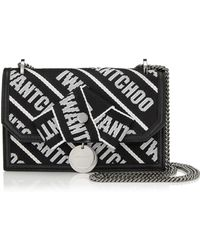 Jimmy Choo - Finley Bag In Leather With Maxi Stripes And Chain Shoulder Strap - Lyst