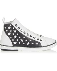 Jimmy Choo - Colt White Leather High Top Trainers With Black Matte Enamel Stars - Lyst