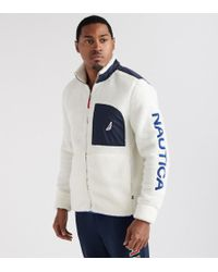 Nautica - Sherpa Fleece Full Zip Logo Jacket - Lyst