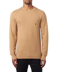 dff04c515 Polo Ralph Lauren Waffle Knit Crew Neck Thermal in Green for Men - Lyst