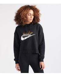 Nike - Rally Cropped Printed Cotton-blend Hoodie - Lyst