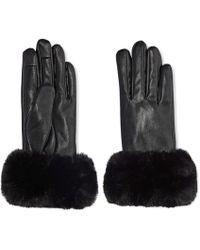 Joe Fresh - Faux Fur Cuff Leather Gloves - Lyst
