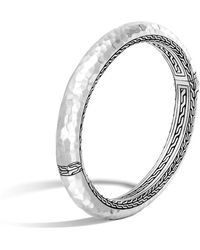 John Hardy - Classic Chain Hammered Hinged Bangle - Lyst