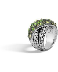 John Hardy - Classic Chain Overlap Ring With Mixed Green - Lyst