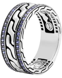 John Hardy - Classic Chain Band Ring With Blue Sapphire - Lyst