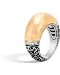 John Hardy - Classic Chain Hammered Dome Ring With Diamonds - Lyst
